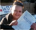 Jade with Driving test pass certificate