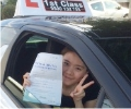 Sue with Driving test pass certificate