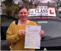 Caroline with Driving test pass certificate