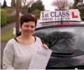 Mandy with Driving test pass certificate