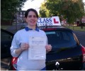 Renata with Driving test pass certificate