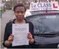 Shana with Driving test pass certificate