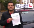 Siddharth with Driving test pass certificate