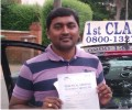 Sreenivasa with Driving test pass certificate