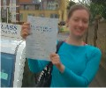 Laura with Driving test pass certificate