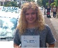 Rachael with Driving test pass certificate
