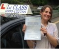 Anna with Driving test pass certificate