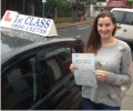Jemime with Driving test pass certificate