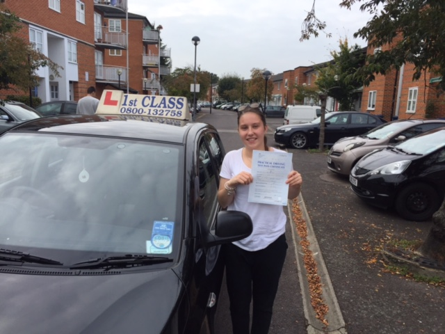 Lillie with Driving test pass certificate