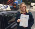 Megan with Driving test pass certificate