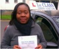 Linda with Driving test pass certificate