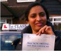 Poonam with Driving test pass certificate