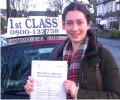 Amy with Driving test pass certificate