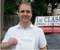 David with Driving test pass certificate