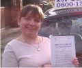 Diane with Driving test pass certificate