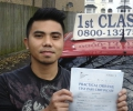 Edward with Driving test pass certificate