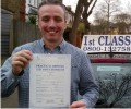 Ian with Driving test pass certificate