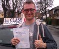 Mike with Driving test pass certificate