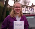 Rachel with Driving test pass certificate