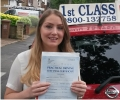 Rebecca with Driving test pass certificate