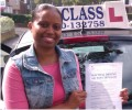 Sherry with Driving test pass certificate