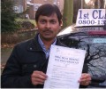 Sreedar with Driving test pass certificate