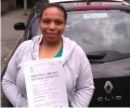 Tanisha with Driving test pass certificate