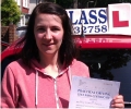 Tatjanan with Driving test pass certificate