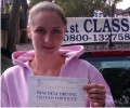 Zoe with Driving test pass certificate