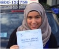 Hafsa with Driving test pass certificate
