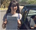 Luana with Driving test pass certificate